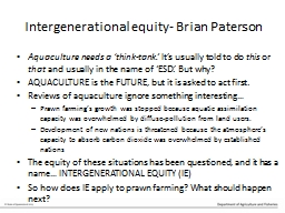 Intergenerational equity- Brian Paterson