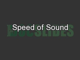 Speed of Sound PowerPoint PPT Presentation