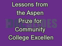 Lessons from the Aspen Prize for Community College Excellen