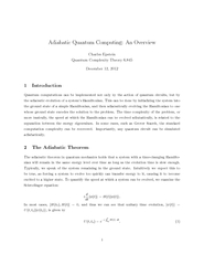 Adiabatic Quantum Computing An Overview Charles Epstei