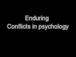Enduring Conflicts in psychology