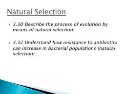 3.30 Describe the process of evolution by means of natural