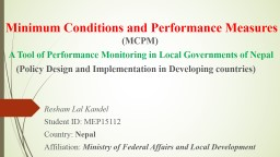 Minimum Conditions and Performance Measures PowerPoint PPT Presentation