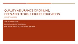 Quality Assurance of Online,