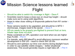 Mission Science lessons learned