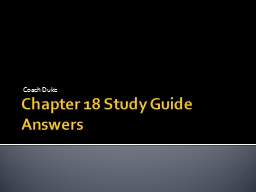 Chapter 18 Study Guide Answers
