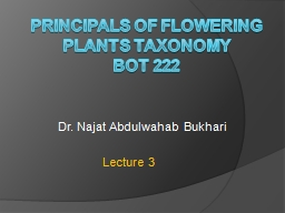 Principals of Flowering Plants Taxonomy