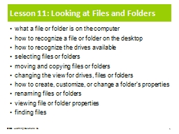 Lesson 11: Looking at Files and Folders