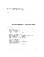 UNITED STATES BANKRUPTCY COURT FOR THE DISTRICT OF RHO