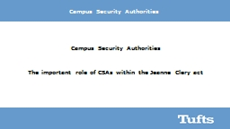 Campus Security Authorities PowerPoint PPT Presentation