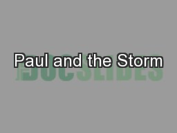 Paul and the Storm