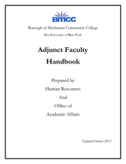ADJUNCT FACULTY HANDBOOK INTRODUCTION This Handbook i