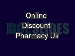 Online Discount Pharmacy Uk