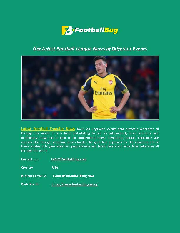 Get Latest Football League News of Different Events