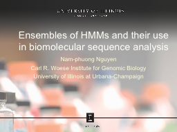 Ensembles of HMMs and their use in