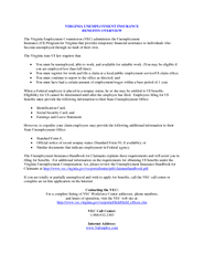 VIRGINIA UNEMPLOYMENT INSURANCE BENEFITS OVERVIEW The