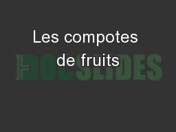 Les compotes de fruits