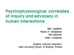Psychophysiological correlates of inquiry and advocacy in h