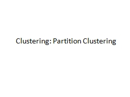 Clustering: Partition Clustering
