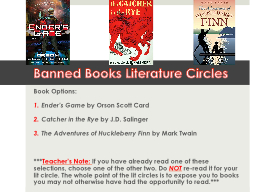 Banned Books Literature Circles