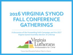 2016 Virginia Synod Fall Conference Gatherings