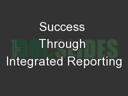 Success Through Integrated Reporting
