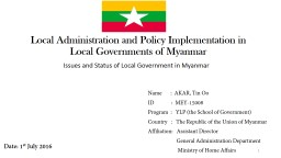 Local Administration and Policy Implementation in Local Gov