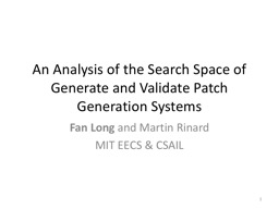 An Analysis of the Search Space of Generate and Validate Pa PowerPoint PPT Presentation