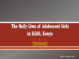 The Daily Lives of Adolescent Girls PowerPoint PPT Presentation