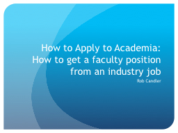 How to Apply to Academia: