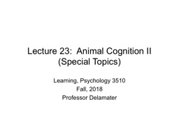 Lecture 23:  Animal Cognition II (Special Topics)