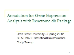 1 Annotation for Gene Expression Analysis with