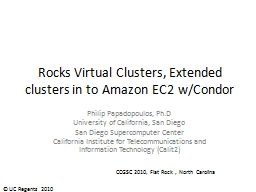 Rocks Virtual Clusters, Extended clusters in to Amazon EC2