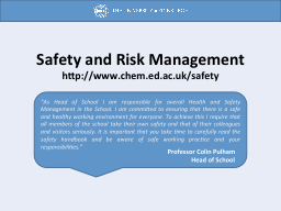 Safety and Risk Management PowerPoint PPT Presentation