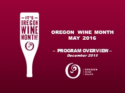 OREGON WINE MONTH MAY 2016