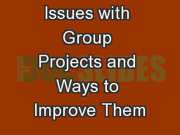 Common Issues with Group Projects and Ways to Improve Them