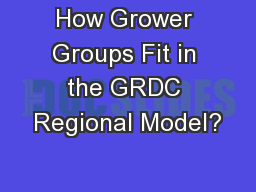 How Grower Groups Fit in the GRDC Regional Model?