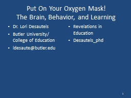 Put On Your Oxygen Mask!