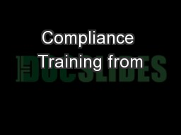 Compliance Training from