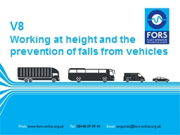 V8 Working at height and the prevention of falls from vehic
