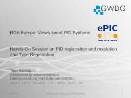 RDA Europe: Views about PID Systems PowerPoint PPT Presentation