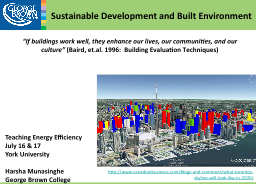 Sustainable Development and Built Environment