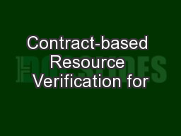 Contract-based Resource Verification for