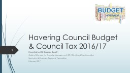 Havering Council Budget & Council Tax 2016/17 PowerPoint PPT Presentation