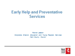 Early Help and Preventative Services