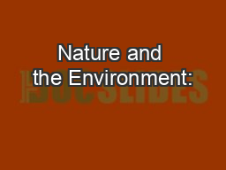 Nature and the Environment: