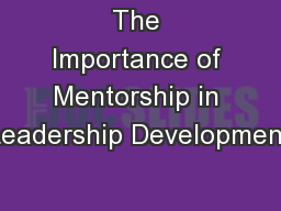 The Importance of Mentorship in Leadership Development