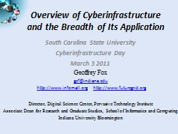Overview of Cyberinfrastructure and the Breadth of Its Appl