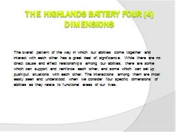 The Highlands Battery Four (4) Dimensions