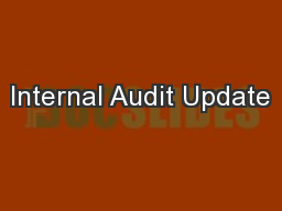 Internal Audit Update